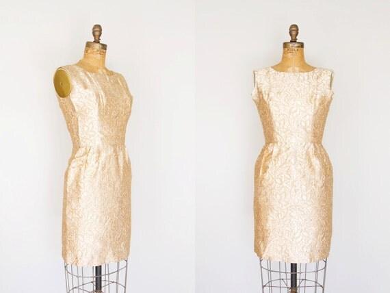 1960s Dress - 60s Dress - Gold Brocade Mini