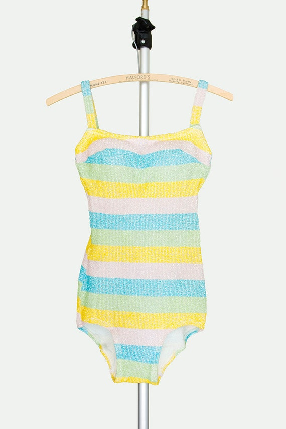 1960s Swimsuit - 60s Swimsuit - Pastel Striped One Piece