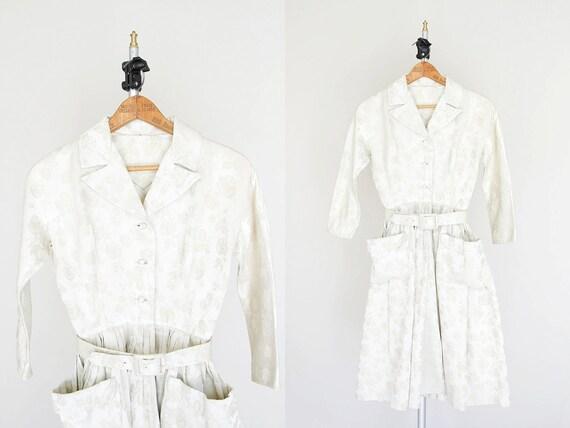 1950s Dress - 50s Dress - Ivory Brocade Shirtdress