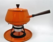 saved for louise... Retro Orange Fondue Pot New and Beautiful