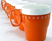 Orange and White Insulated Cups