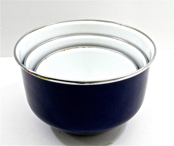 Vintage Navy and White Enamelware Nesting Bowls Set of Three ..reserved..