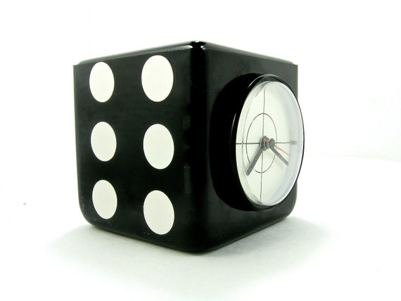 1980s Metal Dice Clock