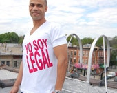 ON SALE - Yo Soy Legal - Mens V-neck Tee in size Large