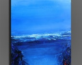 Moody Blues-Blue abstract acrylic landscape painting