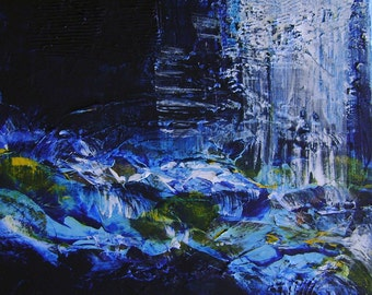 "After Midnight 12""x12"" Original Blue acrylic modern textured painting on canvas"
