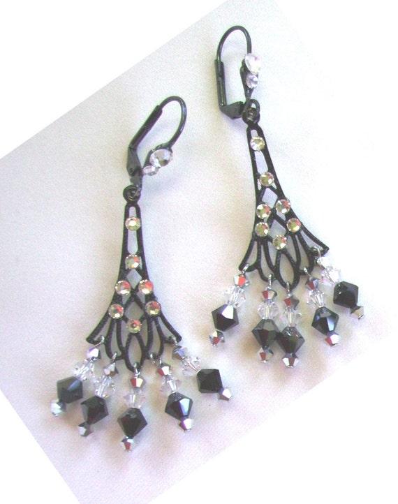 Gunmetal Chandelier Earrings Jose Barrera Gunmetal Filigree Chandelier Earrings In Metallic
