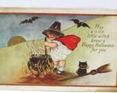 Vintage Halloween Postcards, Halloween Image Little Girl Bats & Black Pot