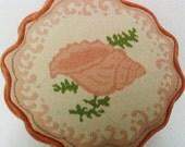 Vintage Needlepoint Pillows, Velvet Pillow, Orange Pillow with Shell Motif