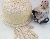 Beige Cream Straw Hat   Vintage Hat   Girls Straw Hat  Summer Chapeau Chiffon Band  Neutral Netting