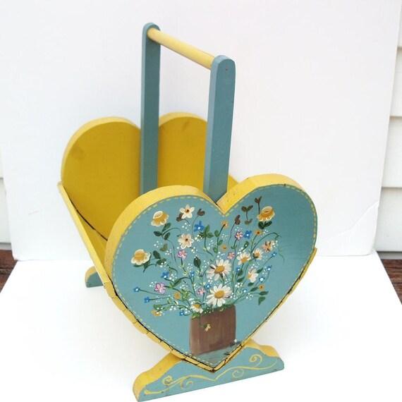 Wooden Magazine Rack  Vintage Magazine Holder  Wooden Basket  Hand painted  Blue Yellow Basket
