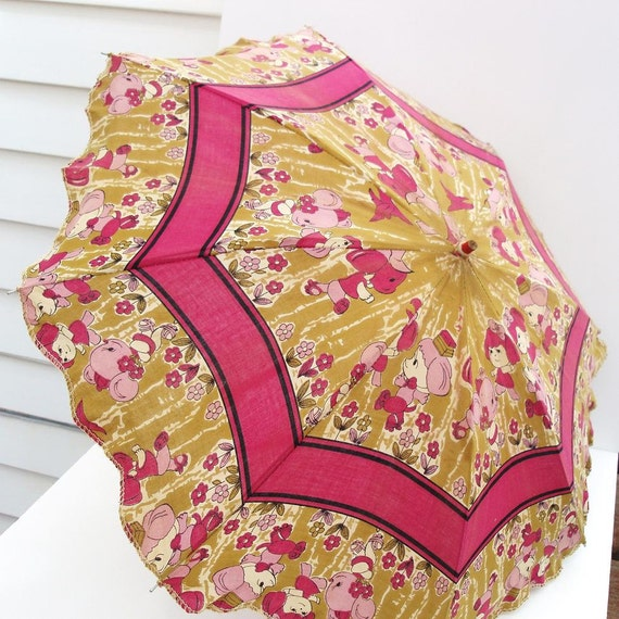 Child Parasol, Vintage Umbrella, Pink and Olive Umbrella