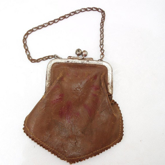 Leather Change Purse  Leather Coin Purse   Antique Purse  Metal Chain Mini Purse Brown Leather