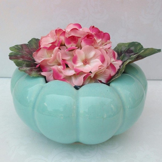 Vintage Planter / Tiffany Blue /  Flower Planter  Garden Planters / Garden Container