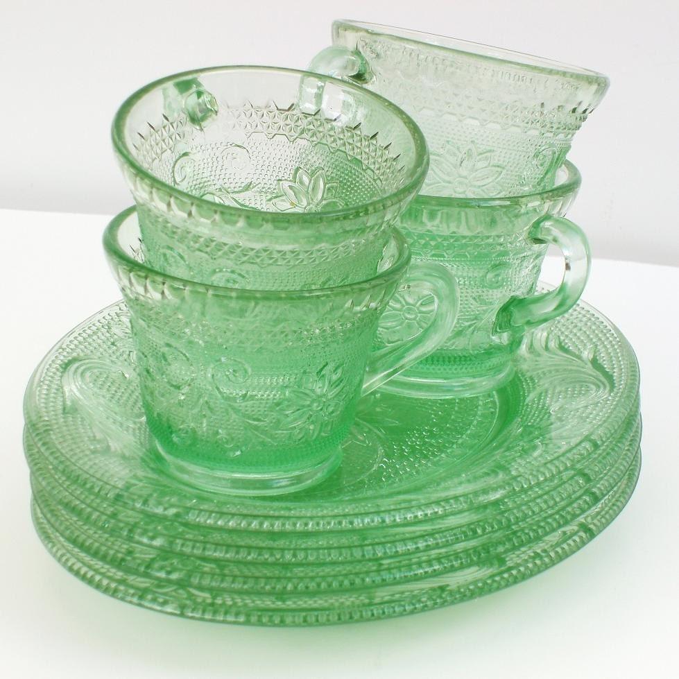 Green Depression Glass Depression Glass Green Glass Plates