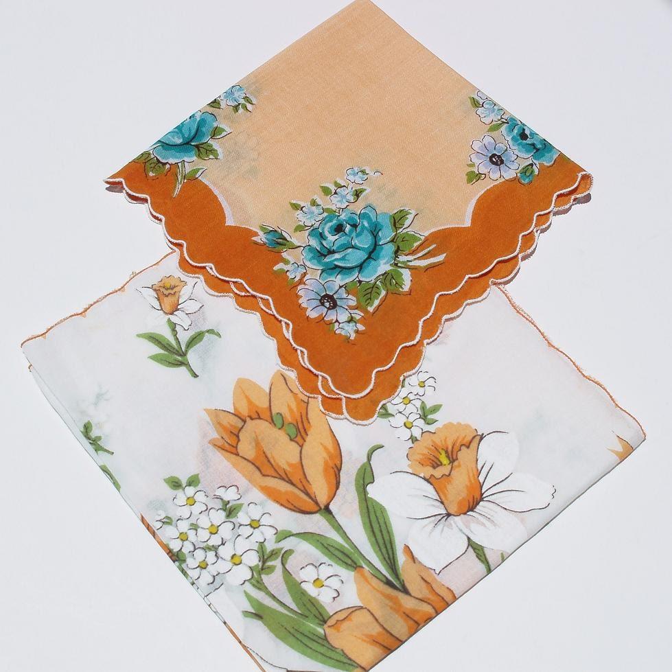 Hankies Vintage Ladies Handkerchiefs Orange And Blue Hankies