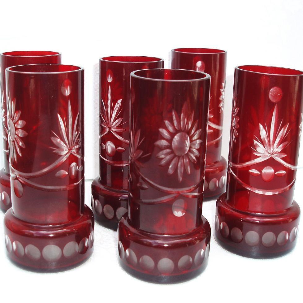 Glass Pitcher Set Ruby Red Glassware Antique Cut Glass Art