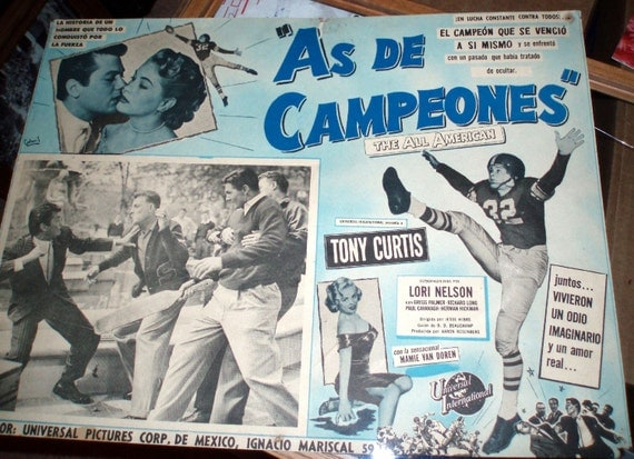 Vintage Tony Curtis Poster The All American with Mamie Van Doren Spanish