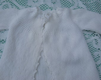 ON SALE - Gorgeous White Hand Knitted Baby Jacket for Baby Boy or Girl.