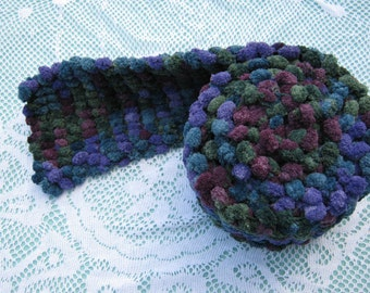 ON SALE - Pom Pom Scarf Hand Knitted in shades of purple, green and blue