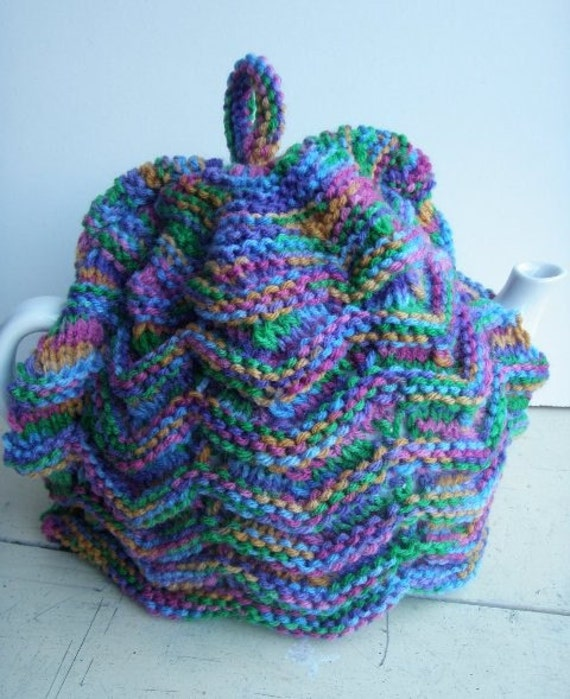 Reserved for Ash Kinchin - Hand Knitted Zig Zag rainbow tea cosy - vintage style for your teapot