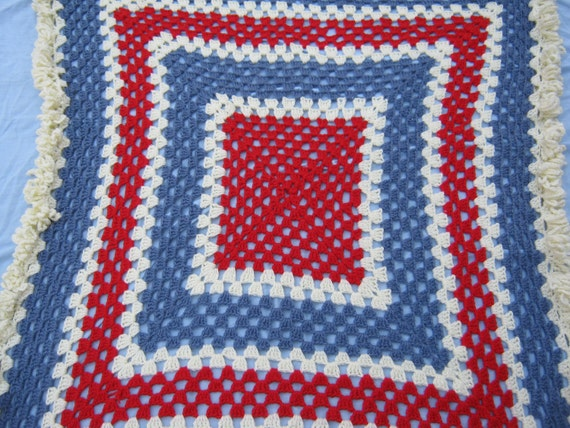 ON SALE - Hand Crocheted Baby Blanket in Blues, Reds and White Vintage 1970s.