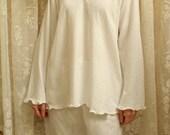 Pajamas - Long Sleeve Long Cotton Pajamas in Supima Pointelle Knit