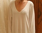 Cotton Nightgown - Long Sleeve Long  Gown Supima Rib Knit