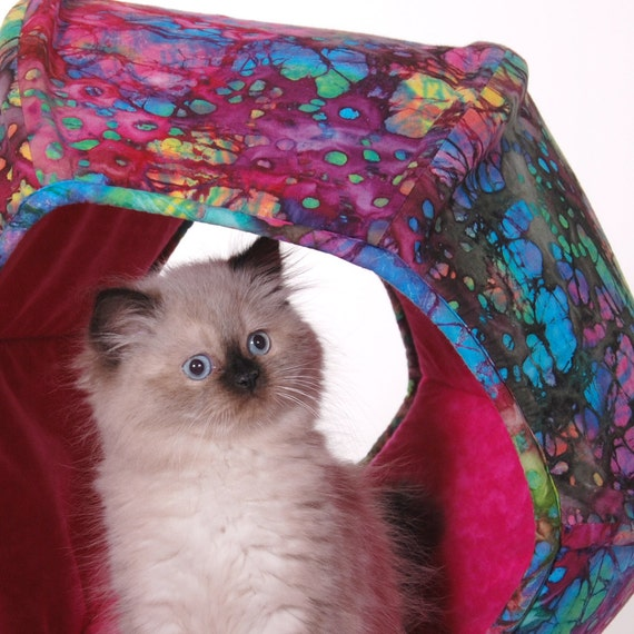 Cat Ball a Modern Kitty Cave Bed in Bright Pink Cotton Batik