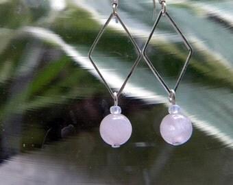 Pink Quartz Earrings/ Semi Precious Stone