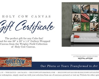 Gift Certificate - Any Amount at Holy Cow Canvas