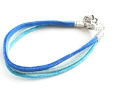 Dark Blue, Light blue Suede Leather, And Aqua Blue Waxed String Cord Bracelet (Get 10% OFF with COUPON CODE for Special Sale)