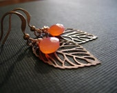 antiqued copper leaves and grapefruit pink chalcedony earrings simple and sweet
