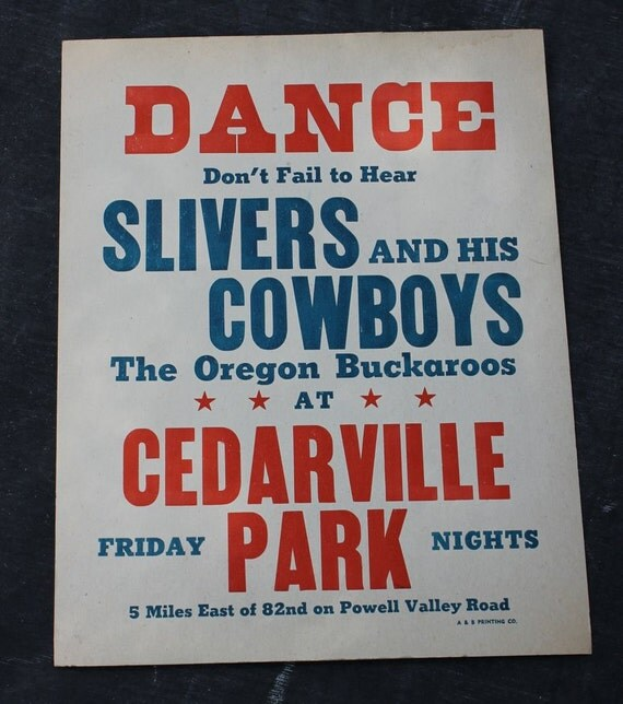 Vintage Music/Dance Poster - Silvers and His Cowboys