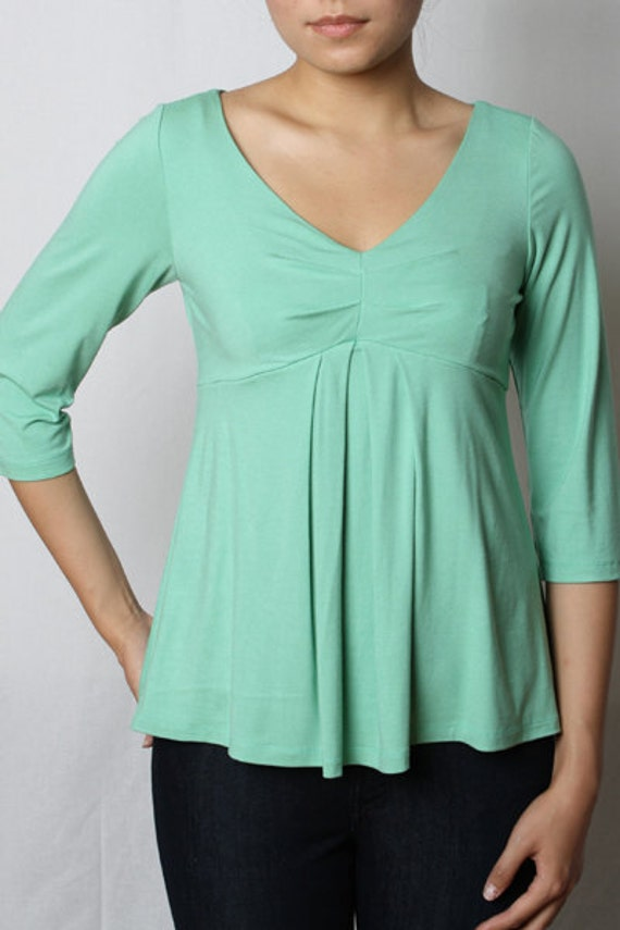 ON SALE - Eco-Friendly 3/4 Sleeve Pleated Top - Rayon/Spandex - Women's Shirt - Size Small in Mint Green Color