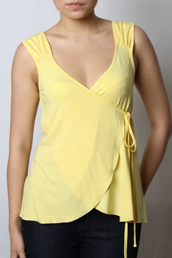 ON SALE - Eco-Friendly Wrap Sleeveless Top - Rayon/Spandex - Women's Shirt in Yellow Size Medium