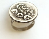 SPRING RING, WISTERIA, Handmade, Spring, Floral, Pewter, Vintage Style, 22mm Button Ring, Adjustable. New Lower Price. Only 1 Left