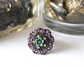 RING JOSEPHINEs GARDEN Enamel and Rhinestone Flower Button Ring w Adjustable Band, Purple, Green
