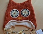"Hoo Hat -Upcycled Felted Wool Owl Hat -Rust Orange Cable Knit Lambswool -Size Large (20.75-22"" head)"