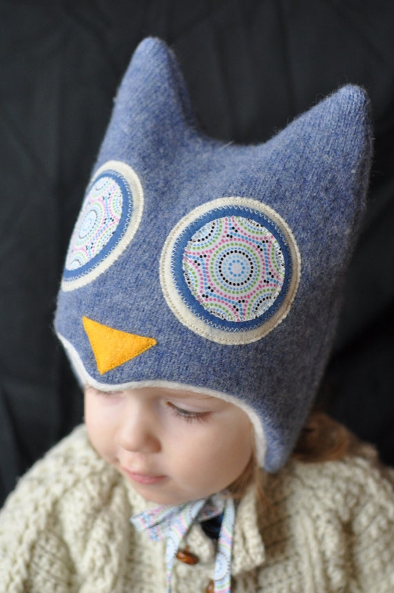 """Hoo Hat -Upcycled Felted Wool Owl Hat -Gray Blue Lambswool -Size Medium (18.5-20.75"""" head)"""