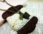 Lovegame Charm Necklace - Czech glass drop and poker card love charm -  Sweet romantic pretty antique style