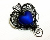 Gothic Heart Wire Wrapped Pendant Filigree Glass Victorian Style Woven Jewelry