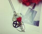 Key necklace wire wrapped Steampunk Rose Key Pendant 4