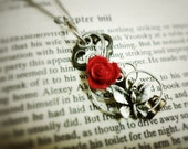 Key necklace wire wrapped LOVE Key Pendant 21 - Wire wrapped rose butterfly key handmade jewelry