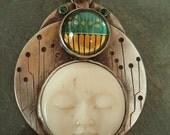 Reserved- Technology Goddess- Bone, Circuit Board, Sterling Silver