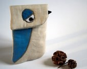 Little bird IPhone case- Organic hemp and linen - ready to ship