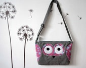 13'' Fun Owl laptop case, grey with pink, owl print, OOAK, ready to ship