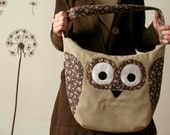Romantic Owl large purse, floral, tan, beige,pink, spring summer fashion -made to order