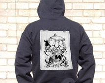 Mushroom Corset wearing Woman Linen Patch Unisex Hoody - unisex hoody size large, burlesque patch, victorian macabre, max ernst, back patch