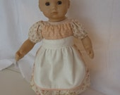 American Girl Bitty Baby Apron Peasant Dress Cream Rose Floral